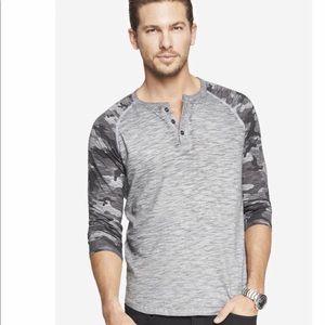 Express Men's Camouflage Baseball Henley Shirt